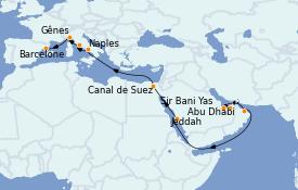 Itinerario de crucero Trasatlántico y Grande Viaje 2023 19 días a bordo del MSC World Europa