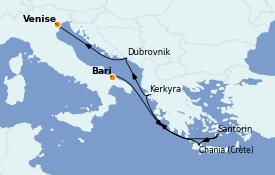 Itinerario de crucero Grecia y Adriático 7 días a bordo del MSC Musica