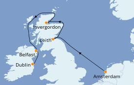 Itinéraire de la croisière Îles Britanniques 8 jours à bord du Silver Whisper