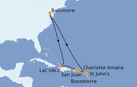 Itinéraire de la croisière Caraïbes de l'Est 12 jours à bord du Grandeur of the Seas