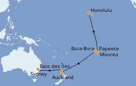 Itinéraire de la croisière Australie 2020 19 jours à bord du Serenade of the Seas