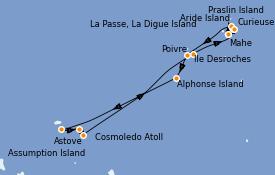 Itinéraire de la croisière Océan Indien 13 jours à bord du Le Bougainville