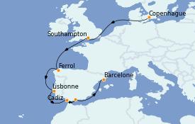 Itinerario de crucero Mediterráneo 11 días a bordo del MSC Grandiosa
