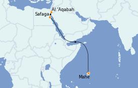 Itinéraire de la croisière Mer Rouge 14 jours à bord du Silver Whisper