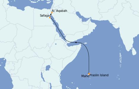 Itinéraire de la croisière Mer Rouge 13 jours à bord du Silver Whisper