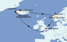 Itinéraire de la croisière Exploration polaire 15 jours à bord du Sky Princess