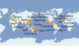 Itinéraire de la croisière Tour du Monde 2021 119 jours à bord du MSC Poesia