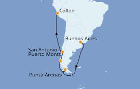 Itinéraire de la croisière Amérique du Sud 15 jours à bord du ms Koningsdam