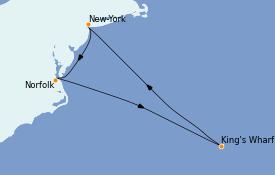 Itinéraire de la croisière Canada 6 jours à bord du Norwegian Prima