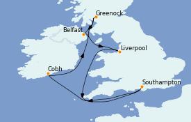 Itinéraire de la croisière Îles Britanniques 11 jours à bord du Sky Princess