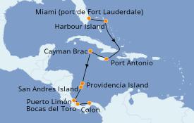 Itinéraire de la croisière Caraïbes de l'Est 12 jours à bord du Silver Explorer