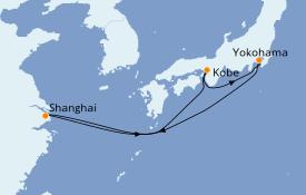 Itinéraire de la croisière Asie 8 jours à bord du MSC Bellissima