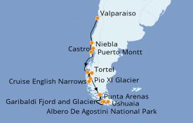 Itinéraire de la croisière Amérique du Sud 13 jours à bord du Silver Explorer