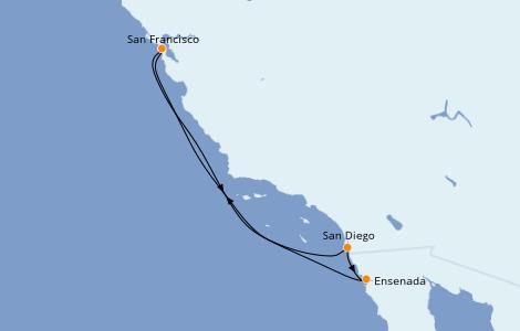 Itinéraire de la croisière Californie 5 jours à bord du Ruby Princess