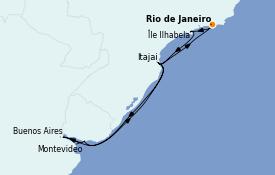 Itinéraire de la croisière Amérique du Sud 11 jours à bord du Costa Fascinosa