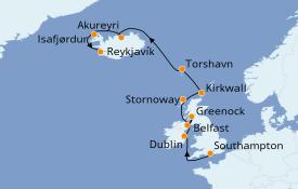 Itinéraire de la croisière Îles Britanniques 15 jours à bord du Seven Seas Voyager