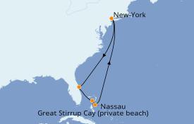 Itinéraire de la croisière Bahamas 8 jours à bord du Norwegian Encore