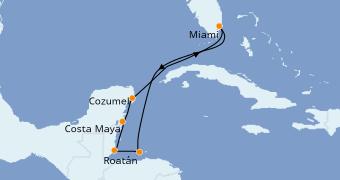 Itinéraire de la croisière Caraïbes de l'Ouest 8 jours à bord du Norwegian Getaway