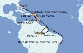 Itinéraire de la croisière Caraïbes de l'Est 26 jours à bord du MS Insignia