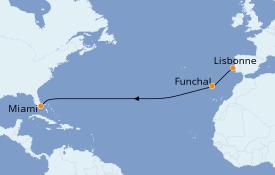 Itinéraire de la croisière Îles Canaries 13 jours à bord du Seabourn Sojourn