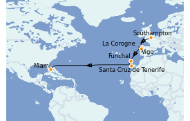 Itinéraire de la croisière Méditerranée 15 jours à bord du Carnival Celebration