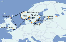 Itinéraire de la croisière Mer Baltique 23 jours à bord du MS Marina