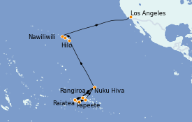 Itinerario de crucero Polinesia 29 días a bordo del MS Regatta