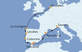 Itinéraire de la croisière Méditerranée 10 jours à bord du Costa Favolosa