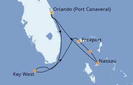 Itinéraire de la croisière Bahamas 6 jours à bord du Norwegian Sun