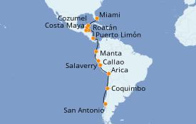 Itinéraire de la croisière Caraïbes de l'Ouest 19 jours à bord du Seven Seas Navigator