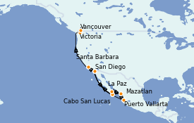 Itinerario de crucero Riviera Mexicana 15 días a bordo del ms Zuiderdam