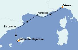 Itinéraire de la croisière Méditerranée 4 jours à bord du MSC Fantasia