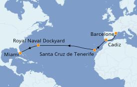 Itinéraire de la croisière Méditerranée 15 jours à bord du Seven Seas Mariner