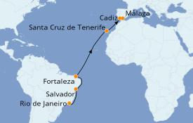 Itinéraire de la croisière Transatlantiques et Grands Voyages 2021 14 jours à bord du MSC Musica