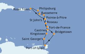 Itinéraire de la croisière Caraïbes de l'Est 15 jours à bord du MSC Seaview
