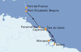 Itinéraire de la croisière Caraïbes de l'Est 13 jours à bord du