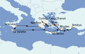 Itinéraire de la croisière Grèce & Adriatique 13 jours à bord du Le Bellot