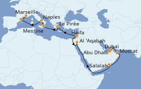 Itinéraire de la croisière Transatlantiques et Grands Voyages 2021 23 jours à bord du Costa Diadema
