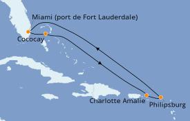 Itinéraire de la croisière Caraïbes de l'Est 8 jours à bord du Independence of the Seas