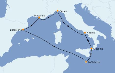 Itinéraire de la croisière Méditerranée 7 jours à bord du MSC Seashore