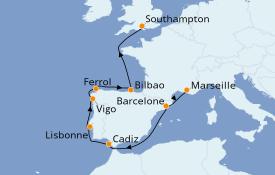 Itinéraire de la croisière Méditerranée 10 jours à bord du MSC Magnifica
