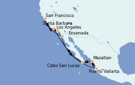Itinéraire de la croisière Californie 13 jours à bord du Seven Seas Mariner
