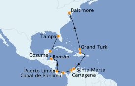 Itinerario de crucero Caribe del Este 15 días a bordo del Carnival Pride
