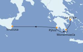 Itinéraire de la croisière Grèce & Adriatique 6 jours à bord du Star Flyer