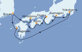 Itinéraire de la croisière Asie 10 jours à bord du Diamond Princess