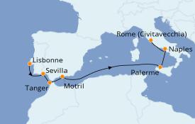 Itinéraire de la croisière Méditerranée 11 jours à bord du Silver Shadow