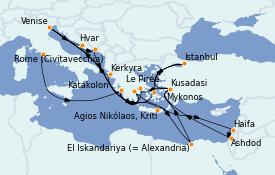 Itinerario de crucero Grecia y Adriático 29 días a bordo del ms Volendam