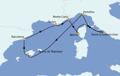 Itinéraire de la croisière Méditerranée 8 jours à bord du Vision of the Seas
