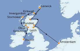Itinéraire de la croisière Îles Britanniques 13 jours à bord du Azamara Quest