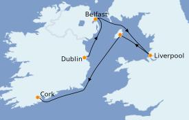 Itinéraire de la croisière Îles Britanniques 8 jours à bord du L'Austral
